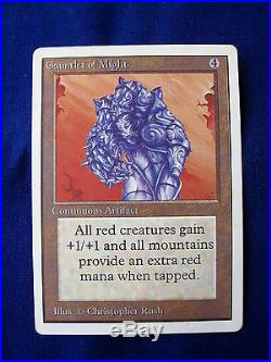 1993 Magic The Gathering CCG Rare card Unlimited'Gauntlet of Might'. 002644