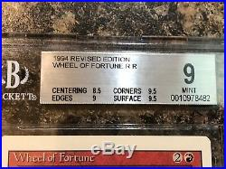 1994 MTG Graded REVISED Wheel of Fortune BGS 9 (8.5,9,9.5,9.5) Near Mint