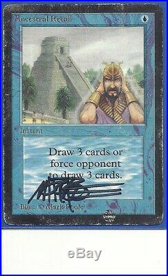 Ancestral Recall signed by artist Mark Poole Beta, P. MTG