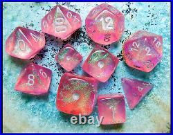 Chessex Pink Borealis 10 piece Dice Set Rare OOP D&D MTG OG