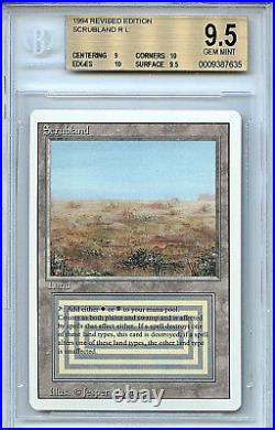 MTG Revised Scrubland Dual Land BGS 9.5 GEM Mint Card Magic Amricons 7635