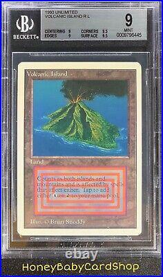 MTG Unlimited Edition 1993 Volcanic Island BGS 9.0Q++ (Quad++) Mint 93/94