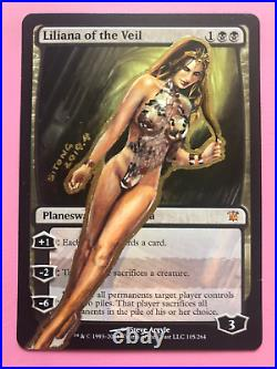Mtg Altered Art Hand Painted Liliana Of The Veil The Black Tape Project By Siton