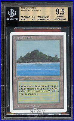 Tropical Island UNLIMITED BGS 9.5 QUAD Beckett Graded GEM MINT Magic MTG